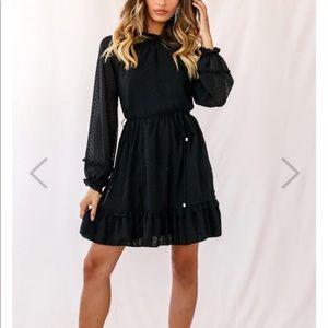 selfie leslie Dresses - Selfie Leslie Black Ruffled Hemline Dress